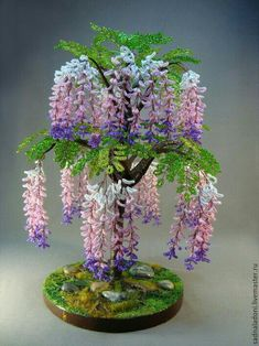 Diy Crafts To Do, Wire Crafts, Bead Crafts, Seed Bead Flowers, French Beaded Flowers, Paper Flowers Craft, Flower Crafts, Bonsai Artificial, Copper Wire Art
