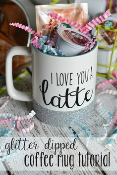 With a few basic craft supplies, make a glitter dipped coffee mug! Perfect to keep for yourself or give as a gift with a few k-cup pods!