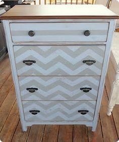 I am doing this to Mark's old dresser. Soon.