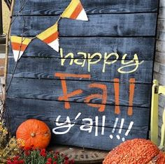 50 Cheap and Easy DIY Outdoor Fall Decorations - Fall Decor Ideas - Thanksgiving Crafts, Fall Crafts, Fall Doormat, Fall Banner, Diy Fall Wreath, Vintage Fall, Diy Door, Mason Jar Diy, Halloween Decorations