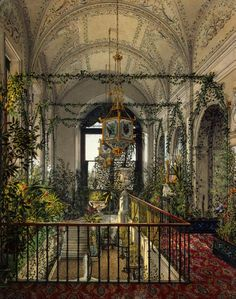 "fleurdulys: ""Interiors of the Winter Palace. The Small Winter Garden of Empress Alexandra Fyodorovna - Konstantin Andreyevich Ukhtomsky """