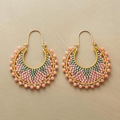 Coral Starburst hoops of Japanese Miyuki beads woven to fill crescent hoops, 14k goldfilled locking wires | Sundance