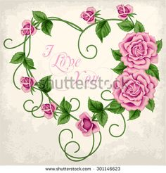 Wreath of  hand drawn roses on old paper background. In the shape of heart. Vector illustration - stock vector