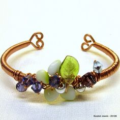 Beaded Jewels Handcrafted Copper wire-wrapped bangle