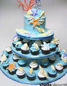 Beach theme wedding cakes, beach wedding cakes, Cup cakes Wedding Cakes