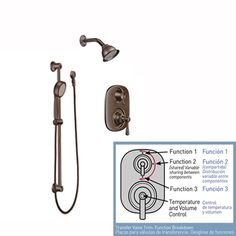 Moen 602SEPORB Oil Rubbed Bronze Eco-Performance Shower, Handshower and Valve Trim Combo from the Kingsley Collection