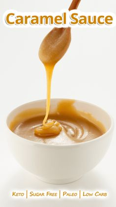 """""""Forget sugar, try this amazing, thick and creamy Keto & Paleo Caramel Sauce! Can easily be topped over any dessert of choice."""" Keto & Paleo Caramel Sauce - You must try this recipe. Low Carb Desserts, Low Carb Recipes, Dessert Recipes, Protein Recipes, Breakfast Recipes, Paleo Recipes, Cookie Recipes, Ketogenic Recipes, Ketogenic Diet"""