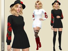 New mesh - Mini dress with long sleeves in black or white with three roses colours.  Found in TSR Category 'Sims 4 Female Everyday'