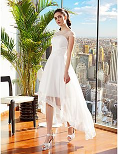 A-line Bateau Asymmetrical Chiffon Wedding Dress (2226237) – CAD $ 180.69
