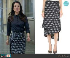 Joan's polka dot wrap skirt on Elementary. Outfit Details: https://wornontv.net/56111/ #Elementary