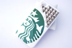 Silver Studded Starbucks Inspired Hard Iphone 4 4s with Studs Cell Phone Case on Etsy, $12.99