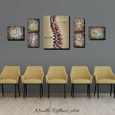 Chiropractic wall artwork neutral calming large print sets for office spine showing flexibility and Clinic Interior Design, Clinic Design, Chiropractic Office Decor, Waiting Room Design, Studio Pilates, Medical Office Decor, Office Waiting Rooms, Cabinet Medical, Small Room Design