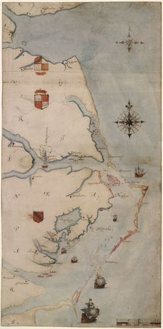 """""""La Virginea Pars"""", a map of the east coast of North America (c. 1585-87) produced by the Elizabethan artist and gentleman, John White (P&D 1906,0509.1.3, c. British Museum,) © Trustees of the British Museum"""