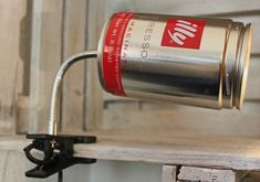 Upcycling lamp made out of a coffee can.  Selfmade project. #selfmade #diy #upcycling #repurpose #lightning  more ideas: www.upcycle-it.ch