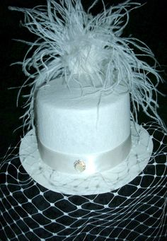 Mini top hat with bird cage veil