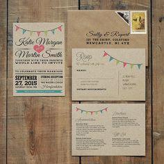 Ideal für Scheune, shabby Chic und Land-Hochzeiten - werden diese rustikale Hochzeitseinladungen gedruckt auf unsere 100 % Recycling-Kraft-Board