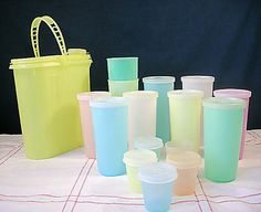 We had a set of Tupperware tumblers and a pitcher like these. We usually used glass, however, these were for camping or hot summers' days when Dad needed Kool-aid. MJ