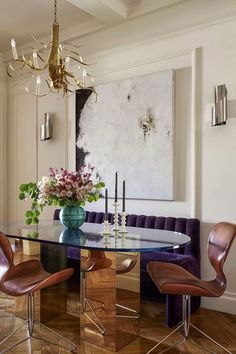 Dining Room Set with Banquette. 20 Dining Room Set with Banquette. so In Love with the Purple Tufted Banquette 3 Dining Room Banquette, Dining Room Wall Decor, Banquette Seating, Dining Room Sets, Home Wall Decor, Patio Dining, Wall Decor Design, Unique Wall Decor, Design Table