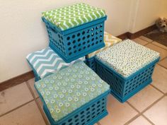 Classroom seating - I love my new milk crate seats! They were super easy to make and look great! See what I did with stepbystep directions with photos Classroom Setting, Classroom Setup, Classroom Design, Kindergarten Classroom, Future Classroom, Reading Corner Classroom, Classroom Helpers, Classroom Resources, Milk Crate Seats