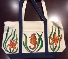 Beach Tote Bag Hand Painted with Seahorse and by GulfLifebyNichole, $44.99