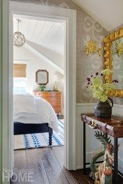 View from hallway to bedroom Decor, Summer Decor, House, Home, Green Cabinets, Decor Inspiration, Room Inspiration, New England Homes, House And Home Magazine