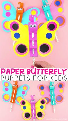 How to Make a Colorful Paper Butterfly Puppet Craft -Use our free template to make a paper butterfly puppet The colorful butterflies are fun for preschoolers and kids of all ages to flutter around Simple butterfly craft for kids iheartcraftythings Summer Crafts For Kids, Paper Crafts For Kids, Projects For Kids, Fun Crafts, Art For Kids, Craft Projects, Kids Diy, Colorful Crafts, Craft Ideas