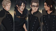 The new old guys, ten years later. Noctis, Prompto, Ignis and Gladious. Final Fantasy XV.
