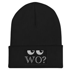 """Mütze mit Bund """"Wo?""""  schwarz und co. Unisex, Beanie, Hats, Design, Fashion, Accessories, Reach In Closet, Black, Moda"""