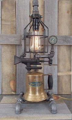 Steampunk Lamp Industrial Table Art Machine Age Gauge Vintage Repurposed Light in Collectibles, Lamps, Lighting, Lamps: Electric