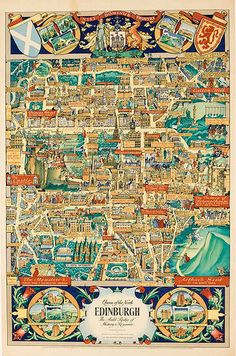 Edinburgh Scotland Map Original Vintage Scottish Travel Poster. Date: 1947