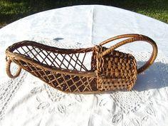 Vintage French  Wine Bottle Basket Holder, Wine Bottle wicker Basket, Wine bottle carrier / holder