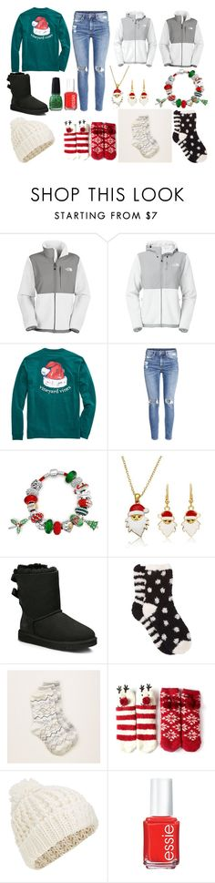 """""""christmas time"""" by victoriahix on Polyvore featuring The North Face, H&M, Bling Jewelry, UGG Australia, Free Press, Aerie, Accessorize and Essie"""