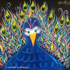 """Bottles 'n Brushes is getting funky fun with this new peacock painting! """"Funky Feathers"""" will be painted on July 15th at the West Ashley location. Bring your kiddos for some painting fun! Sign up at www.bottlesnbrushes.com ."""
