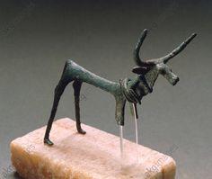 Nuragic civilization. Bronze figure of a stag. From Sardinia Region. Sassari, Museo Archeologico Nazionale Giovanni Antonio Sanna (Archaeological And Ethnografic Museum)