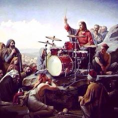This painting answers the age old question of drummers throughout history. Turns out Jesus was a Gretsch man. Trommel Tattoo, Trommler, Drum Tattoo, Gretsch Drums, Drums Art, Guitar Art, Drum Music, Vintage Drums, Instruments