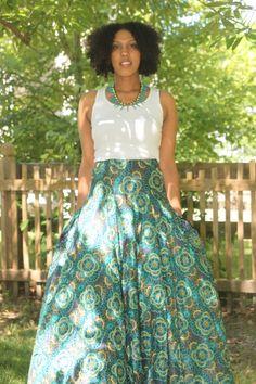 Skirt , high waist, maxi , long , floral green yellow black
