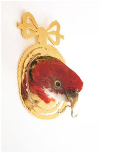 Kelly McCallum, Colonel James Blashford, 2010 Taxidermy parrot, Sterling silver, 18ct gold, 18 ct gold plate