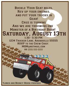 Monster Truck Birthday Invite.