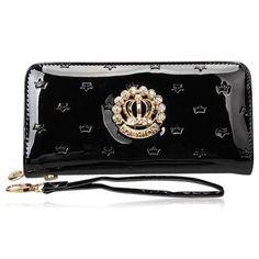 La Mia Cara Jewelry - Principessa Borsa - Rhinestone Crown Leather Long Black Lady Wallet Purse