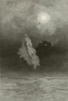 """Illustration for Edgar Allan Poe's """"The Raven,"""" Gustave Dore"""