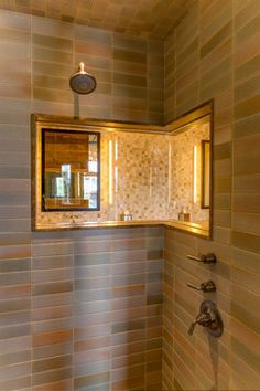 a very unique and beautiful niche inside the shower area! Park City, Utah rustic-bathroom