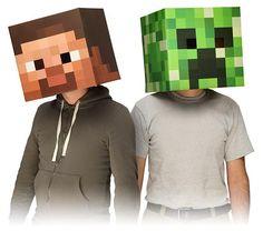 Masque Minecraft - Bloc tête Steve et tête de Creeper