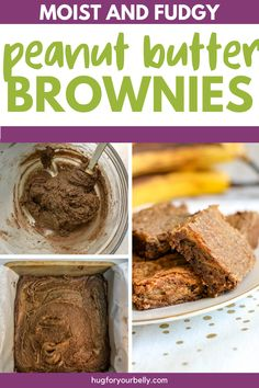 Rich, chocolatey, and easy to make, these peanut butter banana brownies are sure to be a hit with your family! #desserts #brownies #easyrecipes Banana Brownies, Chewy Brownies, Homemade Brownies, Peanut Butter Brownies, Peanut Butter Banana, Best Dessert Recipes, Easy Desserts, Real Food Recipes, Homemade Peanut Butter
