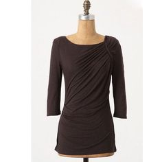 """Odonate Epiprocta top Renewed Folds Pullover by Odonate Epiprocta.  A pleated and draped summertime staple is given autumn-ready heft by a hint of wool. By Odonate Epiprocta.  Lightly padded shoulders  Modal, wool  Hand wash   27""""L  Size XS  Excellent used condition Anthropologie Tops Tees - Long Sleeve"""