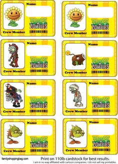 Name Tags Party Decorations Plants Vs Zombies, Party Printables, Free Printables, Printable Labels, Zombie Party Decorations, Christmas Decorations, Zombie Crafts, Zombie Birthday Parties, Birthday Ideas