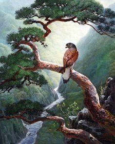 Mountain Paintings, Nature Paintings, Beautiful Paintings, Beautiful Landscapes, Chinese Landscape, Fantasy Landscape, Landscape Art, Landscape Paintings, Beautiful Nature Pictures
