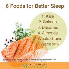 6 Foods for Better Sleep Kale, Salmon, The Cure, Banana, Sleep, Social Media, Treats, Foods, Health
