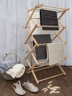 Wooden Clothes Drying Rack, Drying Rack Laundry, Diy Clothes Rack, Campaign Furniture, Rack Design, Clever Design, Etsy, Lifestyle, Home Decor