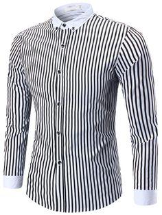 Vertical Stripe Single-Breasted Men's Long Sleeve Shirt