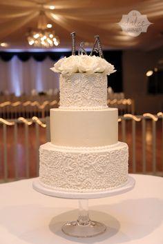Jen and Austin's Big Day! Lace Buttercream Ivory and White cake! - La Dolce Dough, Sylvania Ohio